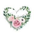 art floral heart shape love watercolor bouquet vector image