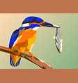 bird kingfisher on a branch with fish in its vector image