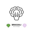broccoli icon vegetables logo thin line art vector image vector image