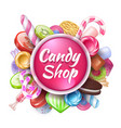 candies background realistic sweets and desserts vector image vector image