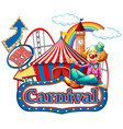 carnival sign template with happy clown and rides vector image