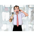 cartoon man with a glass in hand happily talking vector image vector image