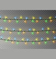 christmas color lights string transparent effect vector image vector image