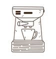 coffee brew method espresso machine and cup line vector image vector image
