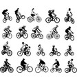 collection of 20 sketch bicyclists vector image vector image