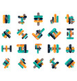 collection of business line design infographic vector image