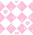 Diamond Chessboard Pink Heart Valentine vector image vector image