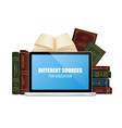 education books and laptop vector image