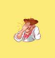 emoji sticker captain mascot facepalm omg vector image vector image