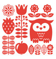 finnish inspired folk art red pattern - scandinavi vector image vector image