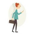 girl with phone cartoon character vector image