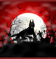 halloween background with black wolf in graveyard vector image