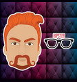 head man style hipster character vector image