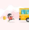 hipster businessman chasing a bus vector image vector image