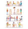 joyful young artists isolated cartoon vector image vector image