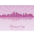 Kansas City skyline in purple radiant orchid vector image vector image