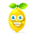 lemon fruit cartoon character isolated on white vector image vector image