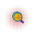 Magnifying glass and chart icon comics style vector image