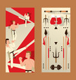 martial arts vertical banner karate people vector image
