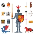 Medieval kingdom knights flat icons set vector image