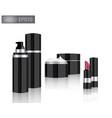 mock up realistic glossy black metallic cosmetic vector image