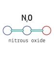 N2O nitrous oxide molecule vector image vector image