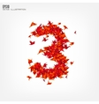 Number 3 Numbers with origami paper bird on vector image vector image