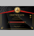 official black certificate with red black triangle vector image vector image