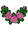 pink rose corner embroidery patch vector image vector image