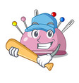 playing baseball wicker basket on a pincushion vector image vector image