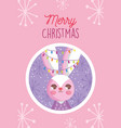rabbit with lights in ears snowflakes merry vector image vector image