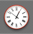 red and white wall office clock icon with roman vector image