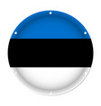 round metallic flag of estonia with screw holes vector image vector image