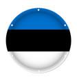 round metallic flag of estonia with screw holes vector image vector image