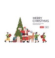 santa claus with elves in protective masks vector image vector image