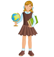 Schoolgirl with globe and books eps10 vector image