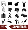 september month theme set of simple icons eps10 vector image vector image