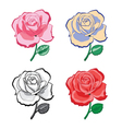 set of color artistic hand drawing roses