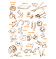 sketch icons set of italian pasta variety vector image vector image