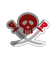 skull with swords vector image vector image