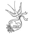 swallow carries over heart on ribbon monochrome vector image vector image