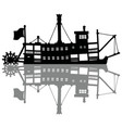 the black silhouette of a vintage steamer vector image vector image