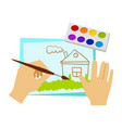 two hands drawing with paint and brush elementary vector image vector image