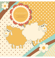 Vintage baby sheep vector image
