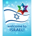 welcome to Israel flag david star and peace vector image vector image