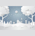 winter season with snowflake and santa in town of vector image vector image