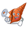 with megaphone long shell character cartoon vector image vector image