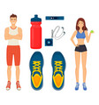 woman and man sport icons set vector image