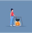 woman hiker cooking meals girl preparing food in vector image vector image
