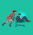 woman with a man in a shopping cart in a vector image